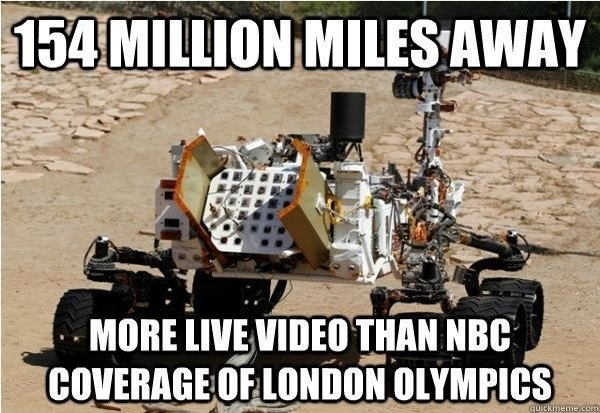 London 2012 'Digital Games' on NBC are time delayed, the NASA Curiosity on Mars is space delayed.