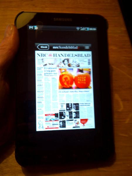 Nrc android app op de samsung galaxy tab is niet beeldvullend, grote zwarte rand erom heen. Angry bird werkt wel goed.