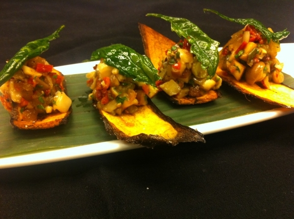 Tasting poss Frontera menu items w chef Richard: 4 shroom ceviche w grld onion, lime, epazote; plantain chip