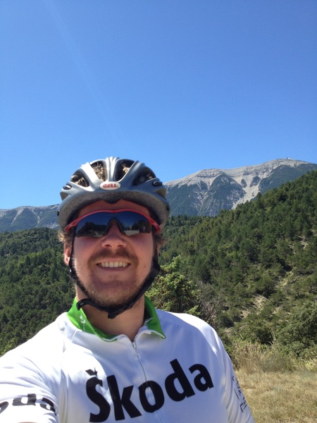 On top of the Col de Fontaube and Mt Ventoux in the back