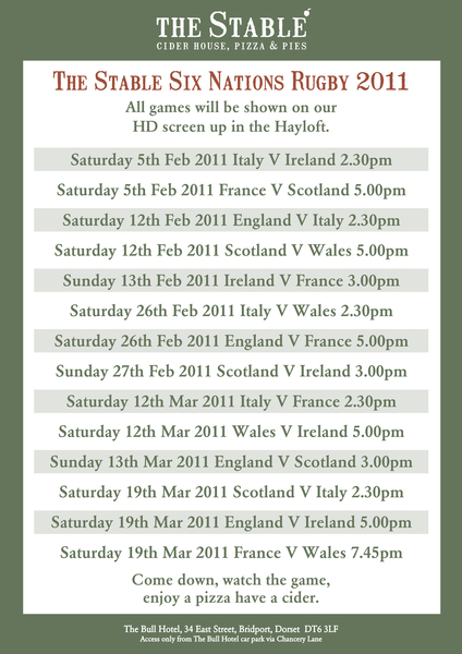 Join us in the Hayloft for Six Nations Rugby, Italy v Ireland, 2:30pm on HD screen #rugby #RBS6nations