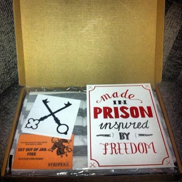 Stripes Clothing, vandaag met de post binnengekomen. Gemaakt door gedetineerden. 'Made in Prison, Inspired by freedom'