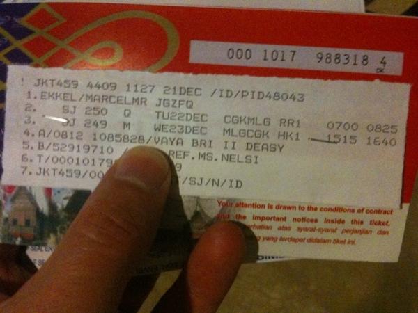 Sriwijaya ticket to malang