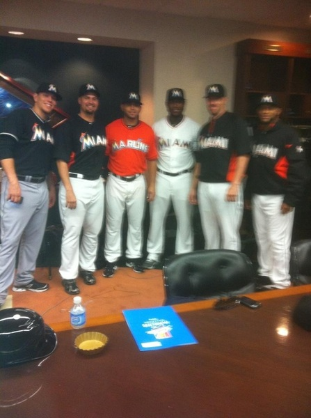 First (partial) team photo as the Miami Marlins (who is that sexy devil on the left?!?)