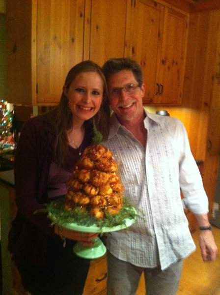 Daughter and I after finishing the croquembouche