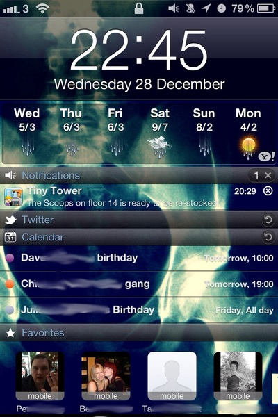 So happy to have a jailbroken iPhone and my custom lock screen back again :D #fb