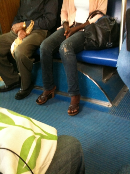 Her foot is #clearly hangin off the back of them sandals. Like. Damn bitch #ThemJawnsTooLittle. #GiveItUp