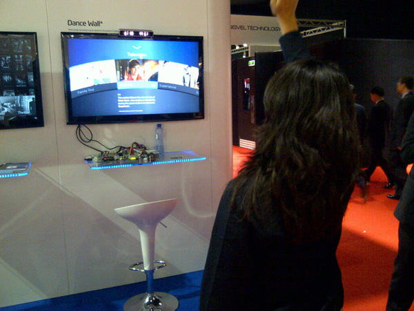Intel's Dance wall prototype user interface from softkinetic like ms kinect