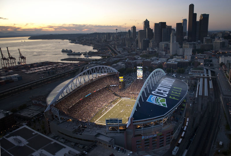 Amazing Aerial View Of Centurylink Field Amp Seattle During