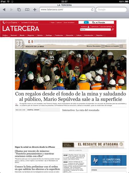 Así cubrió @laterceracom el rescate a Mario Sepúlveda en portada #rescatemineros