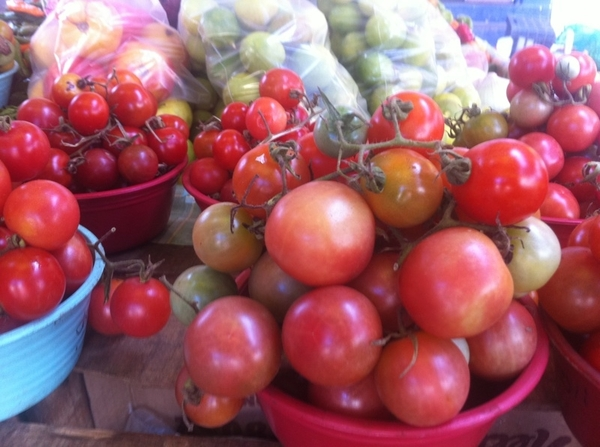 "Zihua Mkt: loads of heirloom tomatoes (including tiny ""wild"" vining). Verdolagas, hierba mora, hoja santa, epazote"