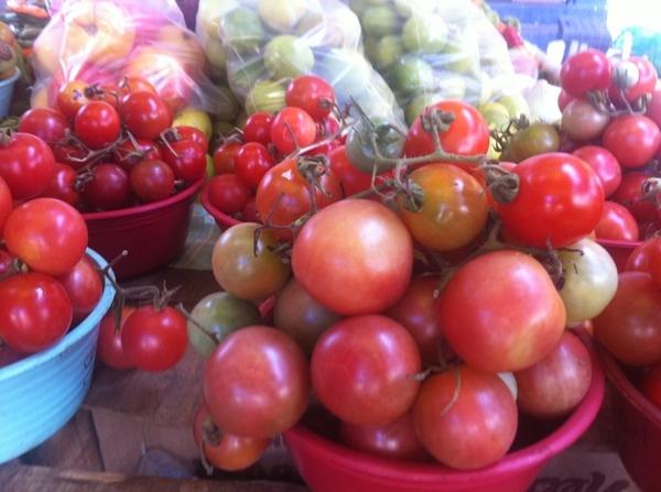 "Zihua Mkt: loads of heirloom tomatoes (including tiny ""wild"" vining). Verdolagas, hierba mora, hoja santa, epazote"
