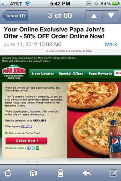 Today's top Papa Johns coupon: 25% Off Regular Menu Price Order. Get 30 coupons for