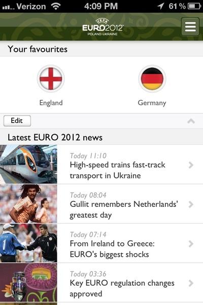 Euro 2012 official app