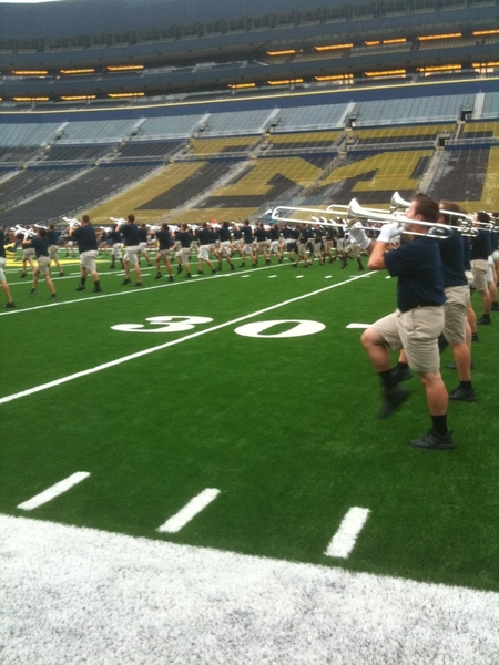 Hail to the Victors! The Michigan Marching Band performed for the football team following practice at the Big House.