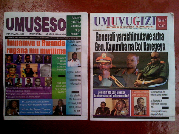The last front covers we'll see of these two Rwanda newspapers for the next 6 months
