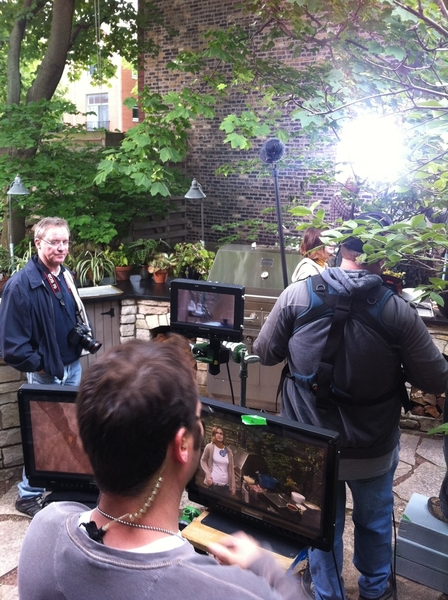 "May 27, Chicago: 48 degrees. Shooting ""summer"" scene in outdoor kitchen, with 9 guests. Yipes!"