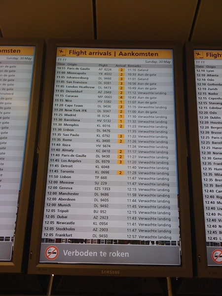 Jeehee! De KLM vlucht uit New York is At the gate.