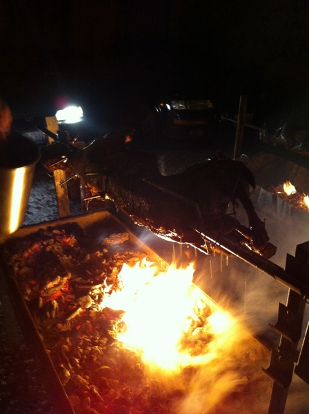 """Frontera mgmt """"holiday"""" party: David Schneider @Taxim roasted whole lambs in winter outside for r team!"""
