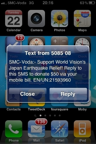 Fundraising through SMS by vodafone for Japan