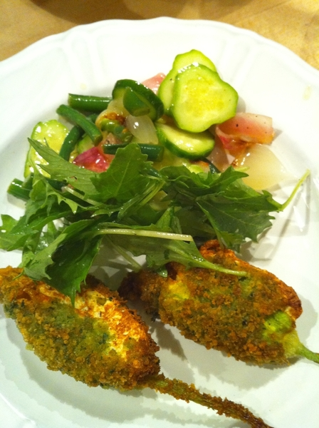 Served crispy squash blossoms w farmers mkt salad of cukes, gr beans and grld knob onions w lemon vinaigrette