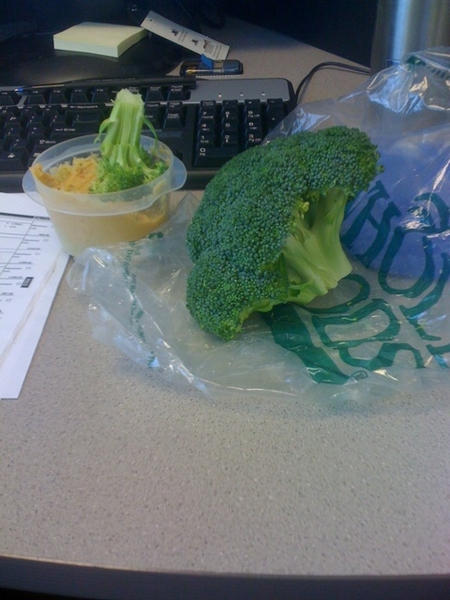 Broccoli and hummus for snack. #veganeatatwork