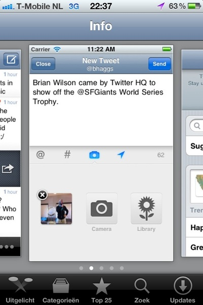 Spotted on the AppStore: How Twitter emphasizes this screenshot by removing the status bar from others.