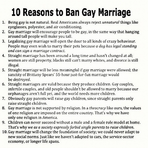 """Ten reasons to ban gay marriage"" LOL"