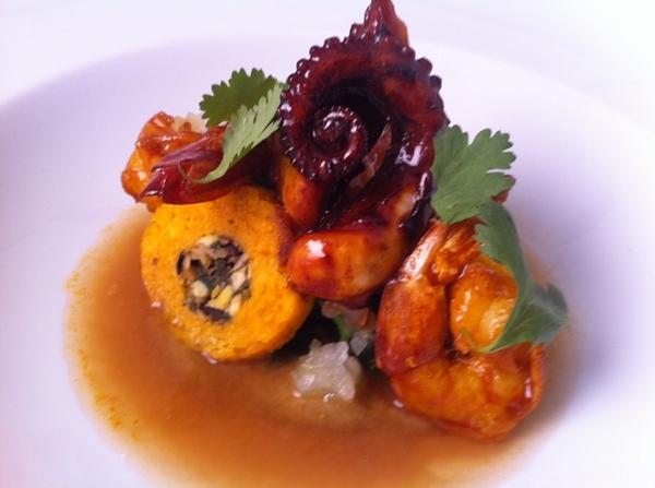 Merida tasting menu: orange-glzd shrimp&octopus, brazo de indio, carm onion escabeche, sikil pak