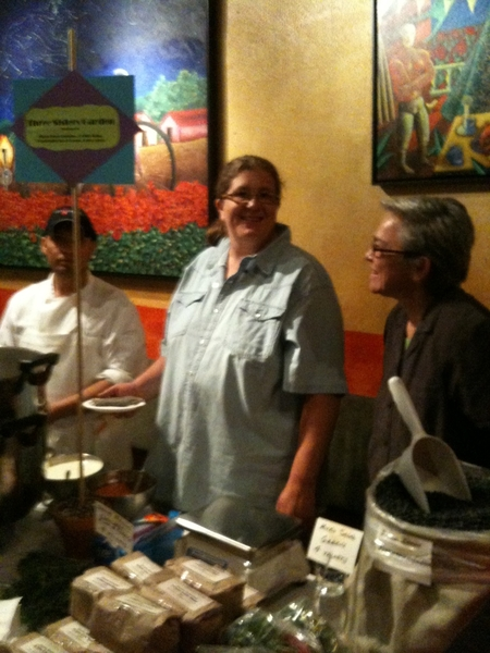 Frontera Farmer Foundation Market: Tracey (former Frontera chef) now grows our bl beans;we served bl bean tamales
