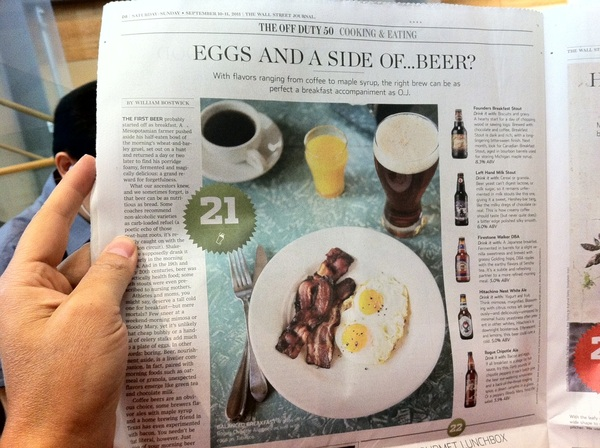 My Kind of Wall Street Journal Story -- Real American Breakfast of Champions