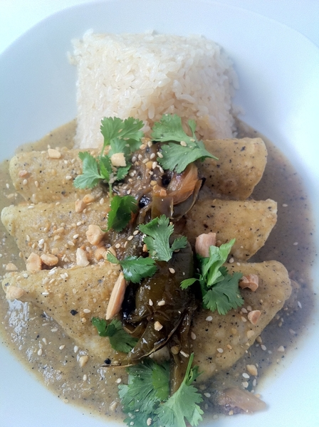 New menu tonight in Frontera: 1st highlight: duck carnitas enchiladas, tomamole (tomatillos, pineapple, sesame),