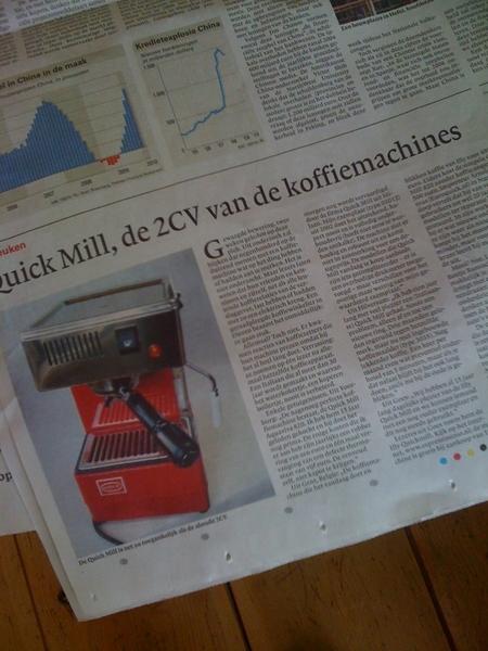 Leest grappig stuk in NRC over onze koffiemachine.