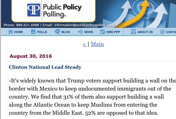 So only 52% of Trump supporters oppose building an Atlantic Coast wall to keep out Muslims: http://j.mp/2bQSwgw