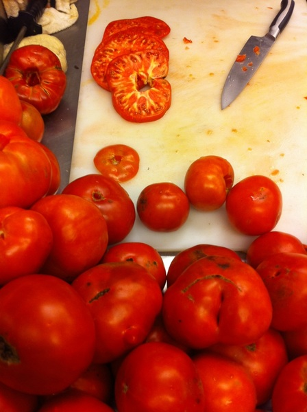 These Snug Haven heirlooms that we're chopping for salsa are incredibly aromatic. How I love summer!