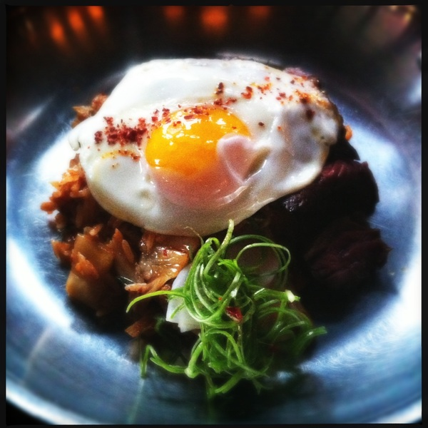 Korean hangar steak with Kimchi rice and egg at The Dutch