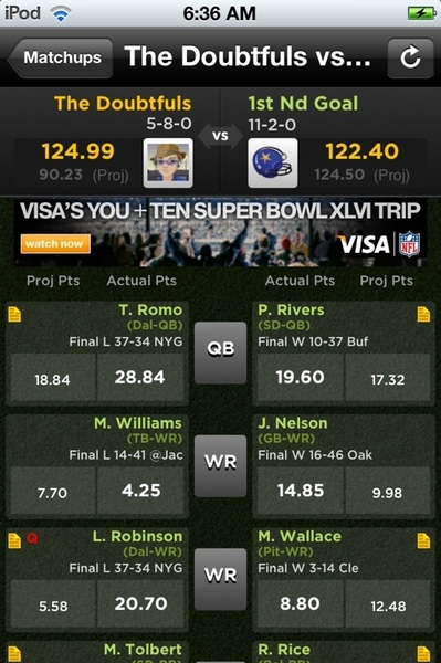 Updated victory won by 2.59 points... Intense fantasy playoffs this year! #fb