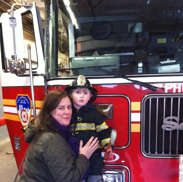 Me and Mr Fletcher at the fire station