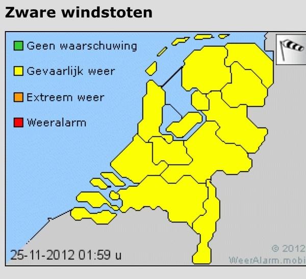 Let op! Het KNMI waarschuwt voor zware windstoten in het hele land.