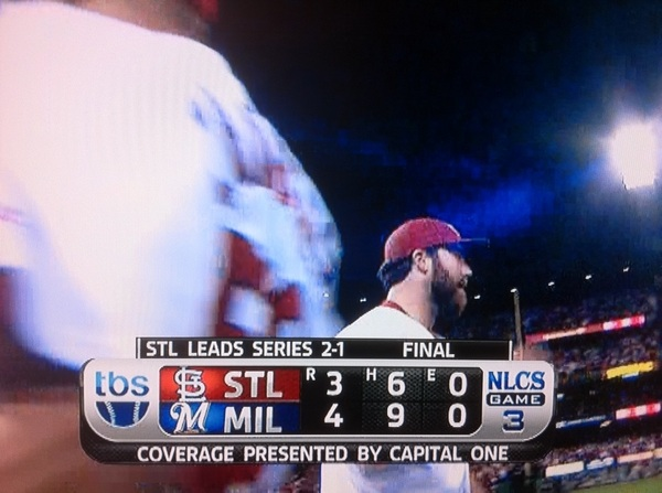 Aw COME ON! TBS final score Game 3 NLCS #Brewers 4 #Cardinals 3 - no, wait...