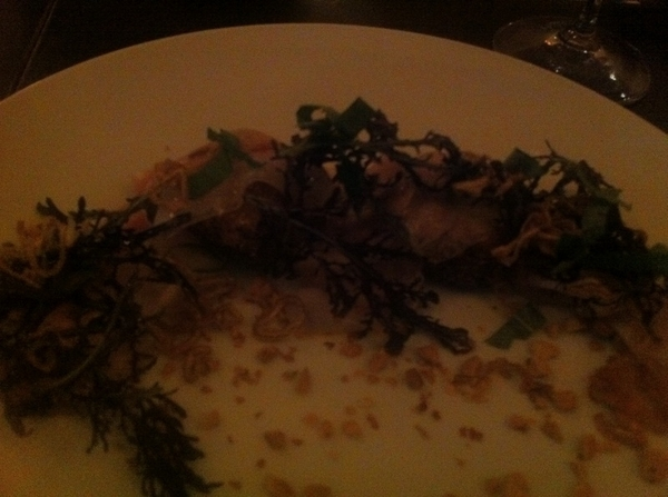 SF chef Nancy Oakes rules! Gr8(!) meal startng@new Prospect: incred dish of crispy pigs feet,shaved pig head(dark)