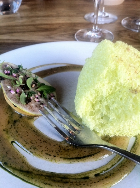 "Noma standout#5: roasted pear + raw slice + herbs&flowers, ""blown up""/expanded pine parfait"
