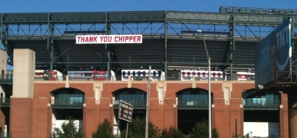 When in Atlanta... See the @Braves at Turner Field and say Thank You Chipper @RealCJ10. #postseason