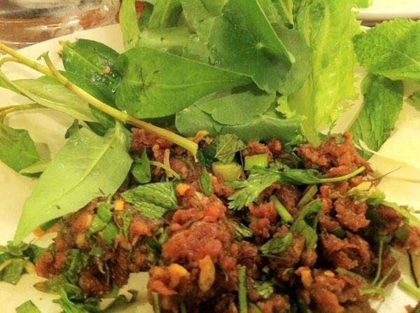 "Vegas Lotus of Siam: ""steak tartare"" w nam pla, lime, bird chiles, mint, Thai basil. Real food of Thailand"