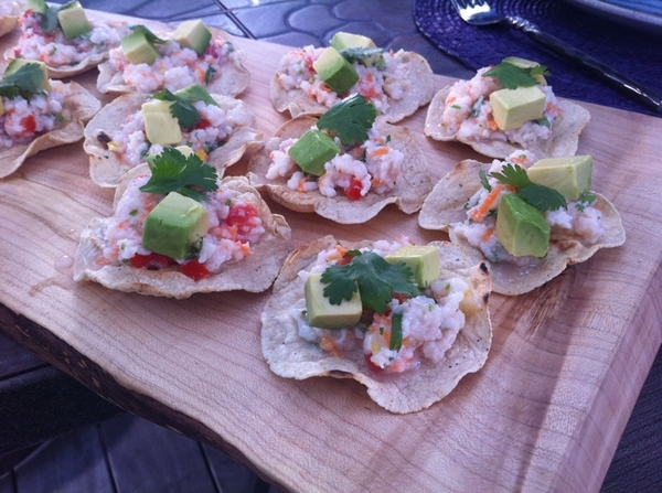 """Mexico--One Plate"" shoot day 3: Ensenada Fish Market ceviche on griddle-baked tostadas"