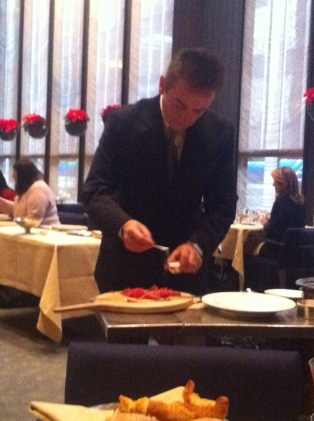 Planned surprise Old School New York day 4 my wife 4 BD: Ever-stunning Four Seasons: tableside steak tartare