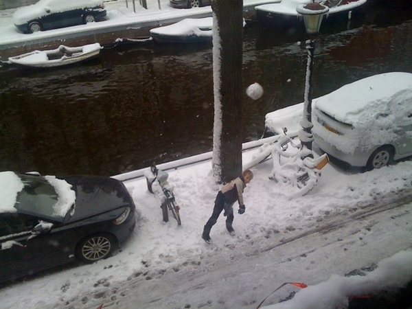 Son attacking me w/ snowballs!