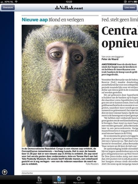 Beeld uit Volkskrant zit al hele dag in m'n hoofd. Nieuwe apensoort ontdekt, lijkt wel een middeleeuwse icoon.