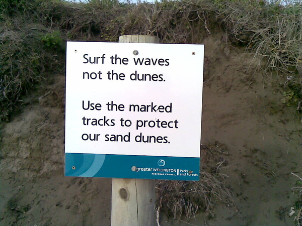Sign just off the beach