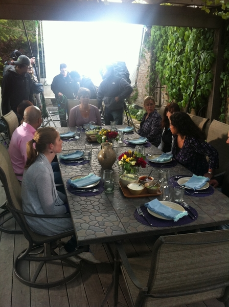 "A ""party"" at the Bayless home. Camera crew, bossing director, stylists and all"